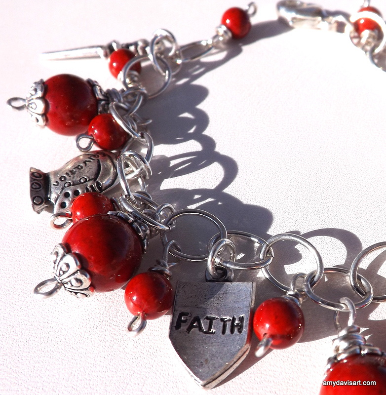 Armor of God Charm Bracelet with Red Fossil Stone Beads