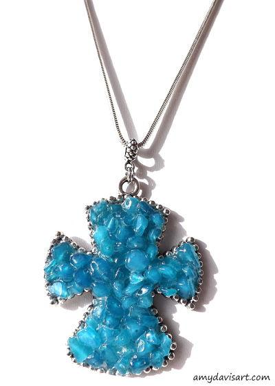 Blue Jade Gemstone Cross Necklace