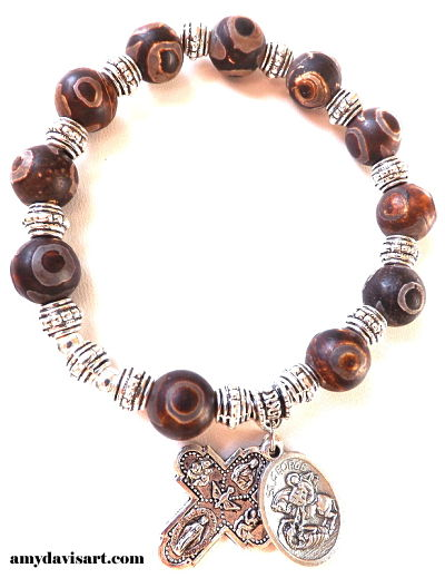 Men's Rosary Bracelet - brown earthtones