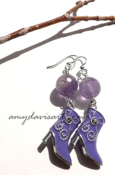 Purple Boot earrings1