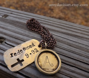 "Christian Dog Tag Necklace ""Redeemed"""