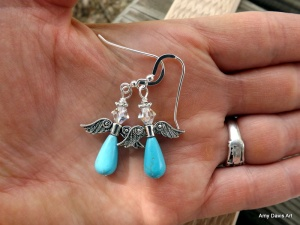 Turquoise Angel Earrings on sterling silver earwires (other options available).