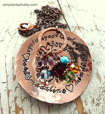 Grandkids names and birthstones all on a large copper circle