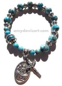 Beautiful turquoise jasper beads with Holy Trinity/Pray for Us Medal