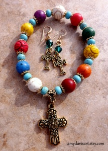 Fiesta Bracelet and Celtic Cross Earrings