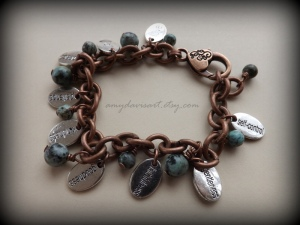 Stunning Copper and African Turquoise Jasper with Fruit of the Spirit Charms