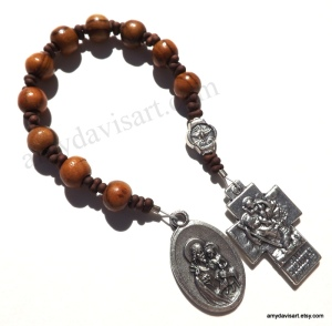 Olive Wood beads from the Holy Land, St. Joseph Medal, Holy Family/St. Christopher Cross and Holy Spirit Pater bead from Italy