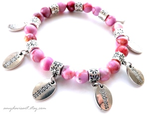 Pink Jasper Beads with Fruit of the Spirit Charms