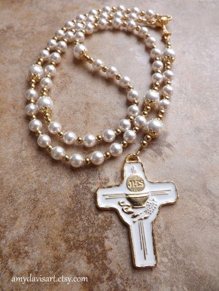 White crystal pearls and gold toned rosary