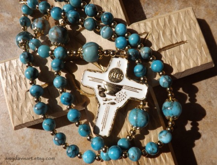 Turquoise Jasper and Gold First Communion Rosary