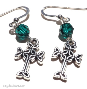 Celtic Cross Earrings - shown in Emerald Green Birthstone Crystals