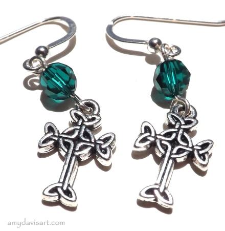 Celtic Cross Earrings - shown in Emerald Green Birthstone Crystal