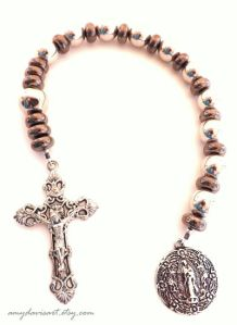 One decade rosary with round Our Lady of Guadalupe Medal and intricate Fleur-de-lis crucifix