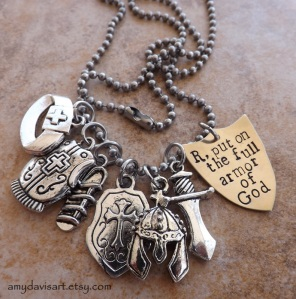Personalized Armor of God Necklace with Hand Stamped Brass Shield