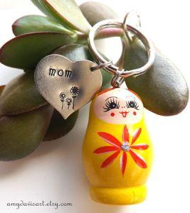 Yellow Matryoshka Keychain