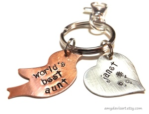 Copper Bird and Nickel Silver Heart Charms