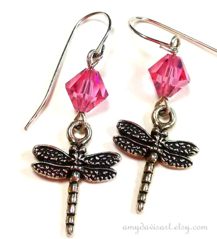 Dragonfly earrings with pink Swarovski Elements crystals