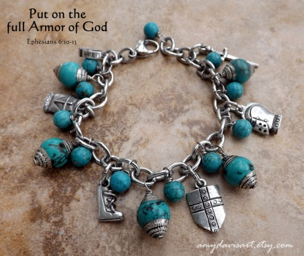 Armor of God Charm Bracelet with turquoise beads