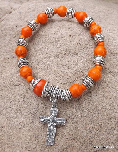 Men's Orange Rosary Bracelet