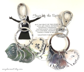 Fruit of the Spirit Hand Stamped Keychain - comes with Galatians 5:22-23 scripture card