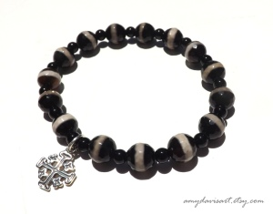 Jerusalem Cross Bracelet with Black Onyx Beads