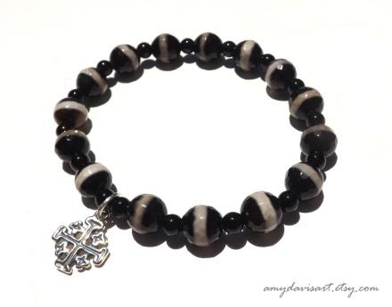 Jerusalem Cross Bracelet with Black Onyx Beads