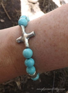 Turquoise and Silver Christian Bracelet