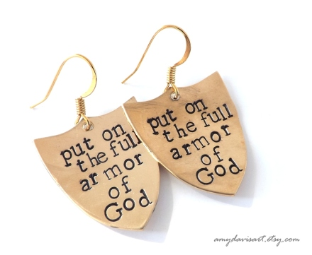 Handstamped brass shield Christian earrings based on Ephesians 6