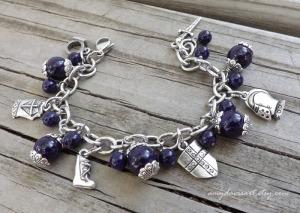 Purple Armor of God Christian Charm Bracelet