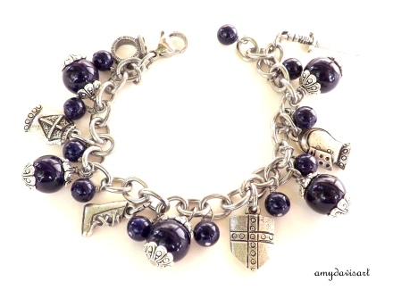 Purple Armor of God Christian Charm Bracelet