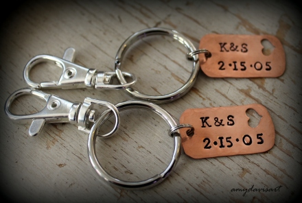 Handstamped couples keychain set - shown with copper dog tag, also available in nickel silver