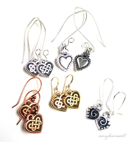 A variety of heart-shaped earrings for Valentine's Day!