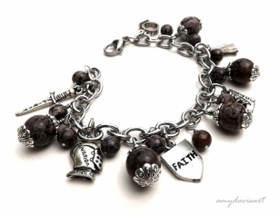 Each charm has the element of the Armor of God listed on the back of it.