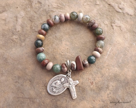 Saint Cecilia rosary bracelet with moss green and earth tone beads