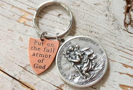 St Christopher Keychain with Ephesians 6 Armor of God Shield