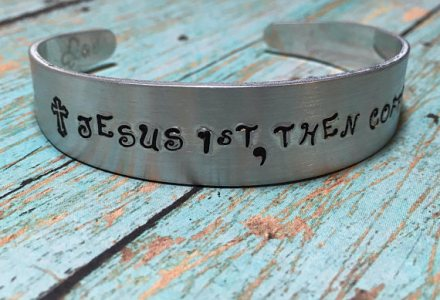 Jesus first then coffee Christian bracelet gift for her