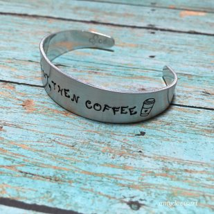 Coffee cup bracelet Christian jewelry for her